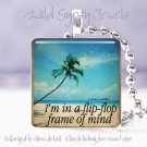 "Summer Ocean Sea Beach Flip Flops 1"" glass tile pendant necklace"