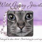 Grey Cat KITTEN Blue Eyes Glass Tile Pendant Necklace