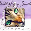 """Tabby Cat KITTEN Green Eyes 1"""" glass tile pendant necklace"""