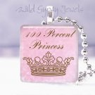 "Pink 100% little girl Princess crown 1"" glass tile pendant necklace Holiday gift"