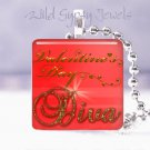 "Valentine's Day red DIVA 1"" glass tile pendant necklace great gift idea Holidays"