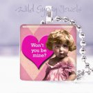 "Vintage Girl pink BE MINE heart 1"" glass tile pendant necklace great gift idea"