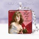 "Be mine Valentine Vintage Girl ROSES 1"" glass tile pendant necklace gift idea"