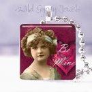 "Vintage Girl Child Be Mine Valentine MAGENTA 1"" glass tile pendant necklace gift"