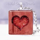 """Valentine's Day RED grunge glitter heart 1"""" glass tile pendant necklace gift ide"""