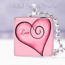 "Valentine's Day RED PINK Love HEART 1"" glass tile pendant necklace gift idea NEW"
