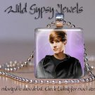 "Justin Bieber sexy HOT black jacket 1"" glass tile pendant necklace FAN gift idea"