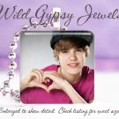 """Justin Bieber sweet young Heart 1"""" glass tile pendant necklace FAN gift idea"""
