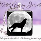 """Wolf Silhouette full Moon howling B&W gray nature 1"""" glass tile pendant necklace"""