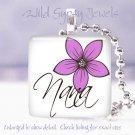 "Mother's Day Lavender PINK floral special Nana 1"" glass tile pendant necklace"
