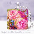 """Bright FLORAL HOT pink roses blue chic 1"""" glass tile pendant necklace Gift Idea"""