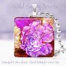 "Bright FLORAL lavender peach rust purple 1"" glass tile pendant necklace Gift Ide"