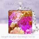 "Floral bright orchid HOT pink rust ivory 1"" glass tile pendant necklace Gift Ide"
