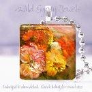 """Flower bouquet rust gold orange tan HOT 1"""" glass tile pendant necklace Gift Idea"""