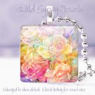 """Flowers Roses pastel yellow peach pink 1"""" glass tile pendant necklace Gift Idea"""