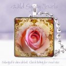 "Bright rose pink ivory sepia sienna HOT 1"" glass tile pendant necklace Gift Idea"