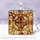 "Faux ivory sienna tole floral chic HOT 1"" glass tile pendant necklace Gift Idea"