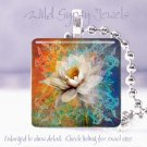 """Floral Water lily orange cyan white HOT 1"""" glass tile pendant necklace Gift Idea"""