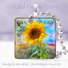 "Funky colorful yellow sunflower blue 1"" glass tile pendant necklace gift idea"