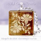 """Ivory faux stenciled tole flower sienna 1"""" glass tile pendant necklace Gift Idea"""