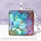 """Mystical floral blue purple brown chic 1"""" glass tile pendant necklace Gift Idea"""