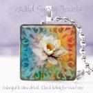 "Orange Blue white magnolia funky chic 1"" glass tile pendant necklace Gift Idea"
