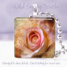 """Rose Pink Floral 1"""" glass tile pendant brown tan chic shabby necklace Gift Idea"""