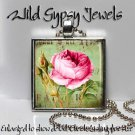 """Pink Roses Vtg Victorian chic shabby 1"""" glass tile metal charm pendant necklace"""