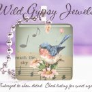 "Music Musical notes Blue Bird spring chic shabby 1"" glass tile pendant necklace"