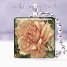 "C. Klein rose pink peach ivory vintage Victorian 1"" glass tile pendant necklace"