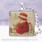 "Christmas girl sled RED Vtg postcard image snow 1"" glass tile pendant necklace"