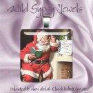 """Santa Claus St. Nick Coke vintage ad Christmas 1"""" glass tile pendant necklace"""
