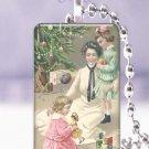 Vtg Christmas Mother children postcard GIFT IDEA glass tile pendant necklace NEW