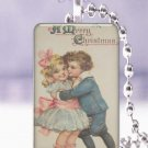 "Vtg. Christmas children hug happy postcard 1 x 1.5"" glass tile pendant necklace"