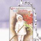 """Vtg. Postcard snowsuit child Christmas Gift 1 x 1.5"""" glass tile pendant necklace"""