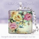 """HP roses pink yellow aqua ivory 1"""" chic glass tile pendant necklace made in USA"""