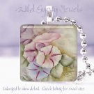 """HP Pink Lavender Blue Morning Glories 1"""" glass tile pendant necklace made in USA"""
