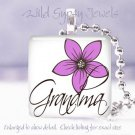 "Mother Day GIFT PINK floral Grandma 1"" glass tile pendant necklace"