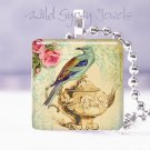 "Vtg teapot teal bird roses ivory Gift idea 1"" glass tile pendant necklace in USA"