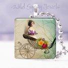"Vtg girl carriage rose sweet ivory Gift idea 1"" glass tile pendant necklace USA"