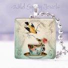 "Teacup cuppa tea yellow bird rose ivory blue 1"" GLASS tile pendant necklace"