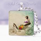 """Cinderella coach Vtg girl roses HOT Gift idea 1"""" glass tile pendant necklace USA"""