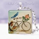 "Blue bird Vtg bicycle rose ivory made in USA GIFT 1"" glass tile pendant necklace"