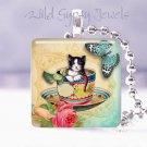 "Tuxedo cat kitten teacup butterfly Gift idea 1"" glass tile pendant necklace USA"