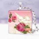 "Vtg White Dove Rose PINK sweet chic Gift idea 1"" glass tile pendant necklace USA"