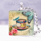 "Blue Bird Butterfly roses tea cup pink ivory 1"" glass tile pendant necklace USA"