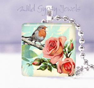 "Vtg Robin Roses Bird singing aqua Gift idea 1"" glass tile pendant necklace USA"
