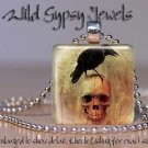 "Poe Nevermore Black Raven Goth skull Punk 1"" glass tile pendant necklace gift id"