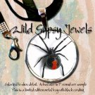 Punk Gothic Black Widow Spider Ltd Edition Glass Tile Fashion Necklace Pendant