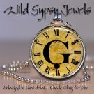 Altered Art CLOCK face glass round cabochon Necklace Pendant Charm Initial ~G